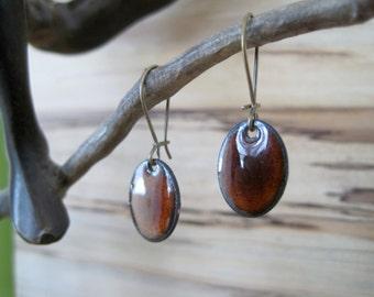 Chestnut Brown Dangle Earrings, Oval Mocha Brown Drop Earrings, Copper Enamel, Espresso Chandelier Earrings