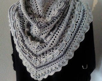 "Hand crocheted cotton shawlette in ""50 shades of gray"" *Ready to Ship*"
