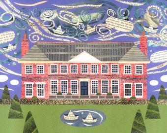 Shelley House Grußkarte, englische Romantiker, Poesie, Schriftsteller Haus, stattliche Haus, Naive Kunst, Collage, Kunst Geburtstagskarte, Amanda weiß