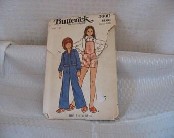 SEWING PATTERN:Butterick Pattern 3600; circa 1970's