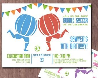 Bubble Soccer Invitation Birthday Party Knockerball Invite Bubble Ball Football Bubble Soccer Birthday Invitation Knockerball Party Boy Girl