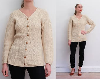 90s Ivory Cable Knit Silk-Wool Cardigan / S