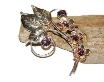 Large Flower Brooch, Flower Jewelry, Rose Gold Jewelry, Rose Gold Brooch with Purple Stones, Purple Brooch, Prong Set Stones, Gift for Her