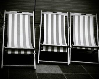 Tripe Striped Chairs Photo Print Wall Art Print Photography Black And White Photo