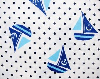 FREE SHIPPING Cotton Fabric - Sailing Ships Fabric on White - Fat Quarter