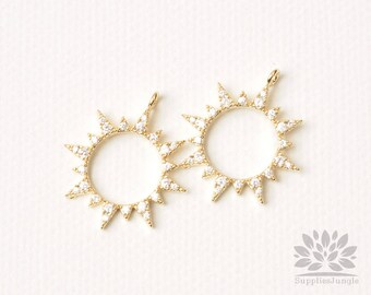 P905-G// Glossy Gold Plated Cubic Sun Pendant, 2pcs
