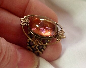 osO LEXIE Oso Pink Rose glass cabochon silver ring
