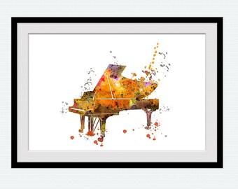 Piano art print Musical room decor Piano poster Musical instrument illustration Music print Home decoration Gift idea Piano wall decor W723