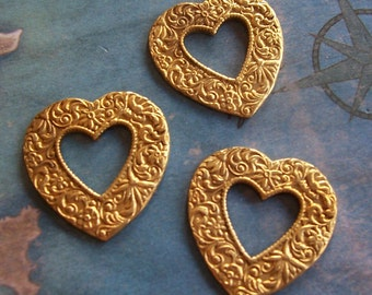 4 PC Raw Brass Victorian Heart Pendant Vintage Style - P0350