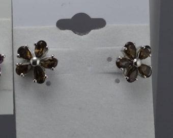 Smoky Topaz Earrings, Smoky Topaz Sterling Silver Earring, Rhodium Plated, Natural Gemstones, Gemstone Studs