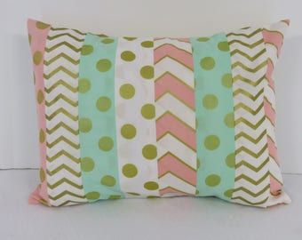 Patchwork Pillow Cover - Baby Toddler Nursery Decor Baby Crib Bedding - Travel - 12 in x 16 in - Mint Green Pink White Chevron Polka Dots