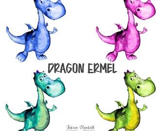 Dragon Ermel 1, Watercolor Clipart, Baby, Child, Fun, Craft