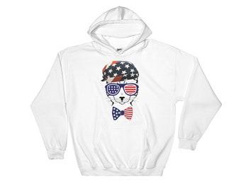 American Cat Hooded Sweatshirt // United States Hoodie // Cat Lovers Hoodie // 4th of July Sweatshirt // Independence USA Cat Hoodie