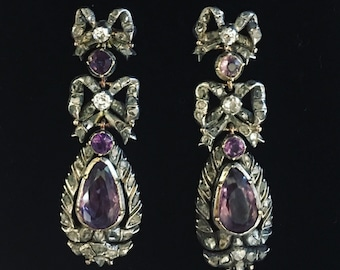 18th Century Portuguese Iberian Lazo Earrings with Foiled Amethyst