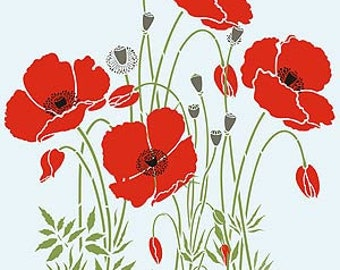 Wild Poppies Flower Theme Pack Stencil ©