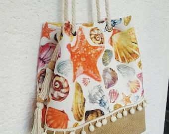 seashell tote bag, starfish jute tote bag, white pompom bag, starfish beach bag, seashell fabric, beach tote bag, large jute bag