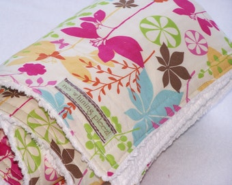 Baby Blanket-- Butterfly Floral--FREE matching wash cloth