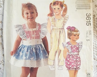 McCalls 3615 Toddlers or Childrens Jumpsuit Romper and Detachable Apron Skirt Sewing Pattern Size 5 NEW UNCUT