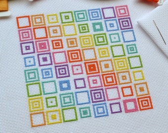 PATTERN Geometric Squares Cross Stitch Chart - Quick and Easy Rainbow Modern Cross Stitch PDF - Repeating Design with Bright DMC Colours