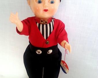 Vintage Genuine Rozetta Dutch Boy Celluloid Doll with Moving Parts Original Box Volendam Made in Holland