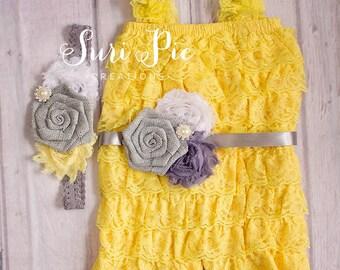 Lace Romper, Girl's Romper, Baby Romper, Lace Petti Romper, Newborn Romper, Yellow Lace Romper,