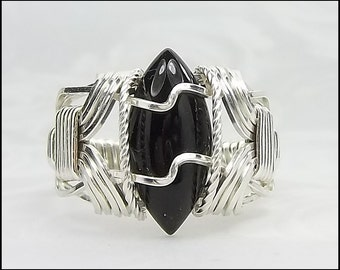 SALE, was 59.97 - Black Onyx Ring, Sterling Silver Ring, Size 6 Ring, Wire Wrapped Ring, Marquise Cut Cabochon Ring, Statement Ring