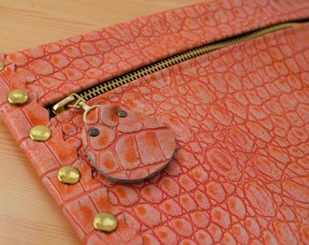 Leather clutch,alligator purse,leather purse bag,coral leather clutch,coral handbag,leather clutches,coral leather bag,leather clutch bag
