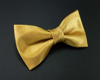 Shiny satin gold clip on bow tie – adult size art deco prom or wedding