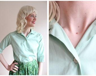 1960s Blouse // Joyce Lane Mint Blouse // vintage 60s blouse