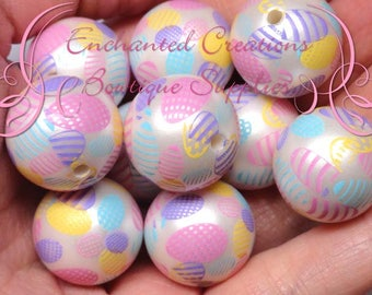 20mm Easter Egg Print Beads, Pink, Purple, Yellow, Aqua, Spring Theme, Chunky Bubblegum Beads, Gumball Beads, Printed Beads, 10pcs