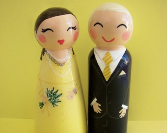 Hand Painted Love Boxes Custom Anniversary Cake Topper Peg Dolls Wood