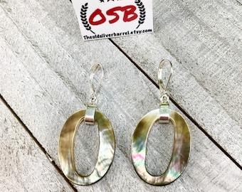 Mother of pearl earrings, oval earrings, silver pearl earrings, mop earrings, circle earrings, brown shell earrings, white shell earrings