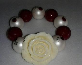 Maroon rose chunky bead bracelet