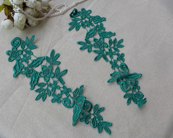 Dark Green Applique Venise Flower Appliques Pair for Sashes, Dresses, Headbands, Costume, Jewelry design
