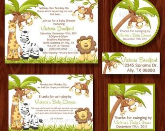 Verkauf Affen sehen Monkey tun unter dem Motto Twin Baby Dusche druckbare Party-Paket (digitale Dateien)