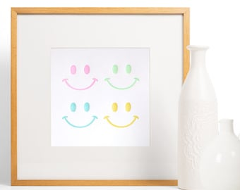 Retro smiley faces, multicoloured, bright happy, happy print, letterpress art print, baby room decor, Spring Easter 80's styling