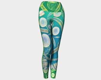 Phytoplankton plankton pond water microbes algae handmade high quality yoga leggings artist original art printed science chic geek wear