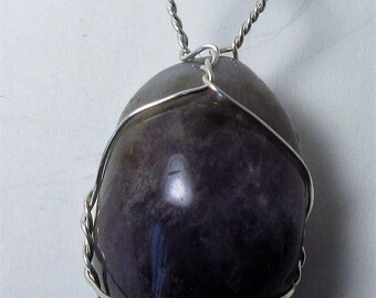 Amethyst Wire wrapped pendant in Silver