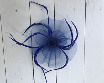 Royal Blue Feather Fascinator Hair Clip Ladies Day Races Party Wedding