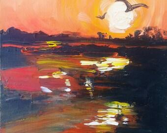 Orange Sunset Painting