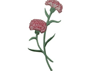 ID 6231 Pink Carnation Flower Patch Garden Dahlia Embroidered Iron On Applique