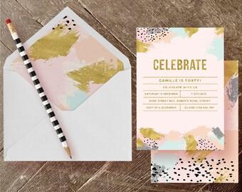 Printable Party Invitation PDF - Painterly