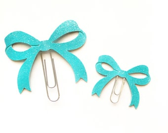 Turquoise Bow Planner Paper Clip