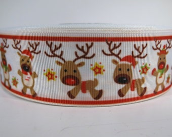 "5 yards of 1.5 inch ""Reindeer"" grosgrain ribbon"