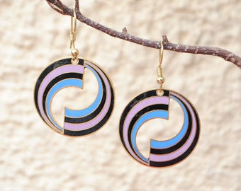 Stud Earrings - cloisonne - vintage disco - fancy earrings - colorful - vintage jewelry