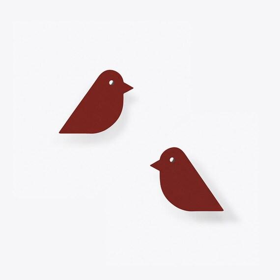 Ruby Red Bird Stud Earrings