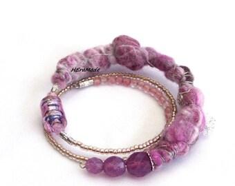 Memory wire bracelet, felt textile bracelet, pink bracelet, textile jewelry, artisan jewelry, bohemian, feminine, jewerelly, gift for her
