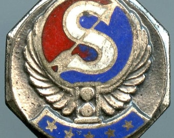 """Vintage Sterling Silver Lapel Pin Arrow over """"S"""" on a field of Blue and Red Enamel"""