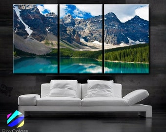 "LARGE 30""x 60"" 3 Panels Art Canvas Print beautiful Rocky Mountain Nature Wall Home decor interior (Included framed 1.5"" depth)"