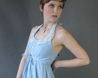 70s Halter Sun Dress Vintage Maxi Blue Gingham Lace Girly Small